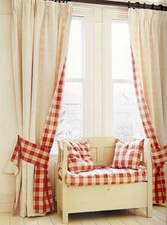 Window seat matches the cream and red check curtains --- Design Caller ~ Selected Spaces: 10 Unusual Ideas For Windows Check Curtains, Cute Curtains, Drapes Curtains, Drapery, Peacock Curtains, Plaid Curtains, Layered Curtains, Country Curtains, Country Bench