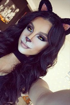 39 Sexy Halloween Makeup Looks That Are Creepy Yet Cute 18 Pretty Halloween Makeup Ideas You'll Beautiful Halloween Makeup, Cat Halloween Makeup, Halloween Makeup Looks, Gorgeous Makeup, Pretty Makeup, Halloween Nails, Halloween Projects, Scarecrow Makeup, Amazing Makeup