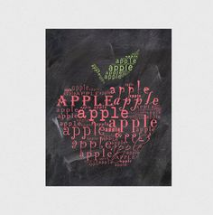 Apple Typographic print Kitchen decor Kitchen art by hedehede