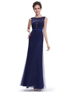 Upper Net Sleeve Mermaid Floor Length Blue Tulle Cheap Long Prom Dress
