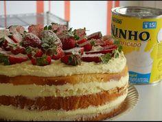 Naked Cake Com Recheio de Ninho e Morango