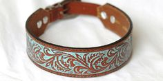 Hey, I found this really awesome Etsy listing at https://www.etsy.com/listing/250130994/tooled-leather-dog-collar-brown-with