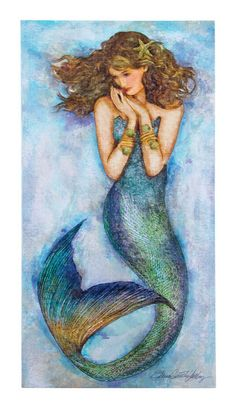 Magic Mermaid Watercolor Sign - Beauty of the Sea Wall Decor - California Seashell Company Pin Up Mermaid, Mermaid Sign, Mermaid Room, Mermaid Art, Mermaid Tails, Mermaid Pictures, Mermaid Drawings, Fantasy Mermaids, Watercolor Canvas