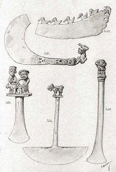 [Piezas del Museo Arqueológico de Madrid] [Dibujo] José Cebrián García. Contiene: cinco dibujos numerados ( 10301,1031, 1034, 1042, 1043), que reproducen diferentes tipos de tumis o hachas de mano, todos ellos decorados con figuras antropomorfas y zoomorfas en la empuñadura. Museo Arqueológico Nacional (España) http://aleph.csic.es/F?func=find-c&ccl_term=SYS%3D000007602&local_base=ARCHIVOS