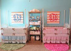 boy and girl twins nursery | Coral & Teal: Boy & Girl Twin Nursery « Project Nursery