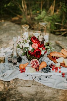 This elopement inspiration at The Falls of the Ohio features a pomegranate and dusty blue color palette and a vow exchange and picnic near the river. Red Bouquet Wedding, Red Wedding, Floral Wedding, Perfect Wedding, Fall Wedding, Bohemian Wedding Inspiration, Elopement Inspiration, Pomegranate Wedding, Forest Wedding