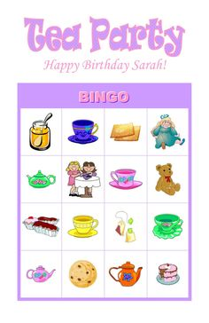 Tea Party Personalized Birthday Party Game Activity Bingo Cards Delivered by Email