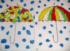 Umbrella crafts for preschool Fall Arts And Crafts, Autumn Crafts, Autumn Art, Summer Crafts, Preschool Art Projects, Art Activities, Preschool Crafts, Preschool Kindergarten, Fall Crafts For Toddlers