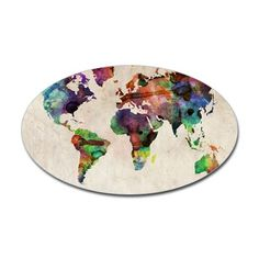 World Map Urban Watercolor 14x10 Decal on CafePress.com