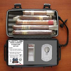 Lotus Travel Humidor Gift Set with Cigar Cutter and Lighter- Personalized with Initials, Dates or a Monogram - Groomsmen Gift, Gifts for Men Whisky, Cigars And Whiskey, Good Cigars, Pipes And Cigars, Cigar Humidor, Cigar Bar, Gin, Cigar Gifts, Cigars