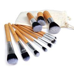 11Pcs Makeup Brushes Wood Handle Eyeshadow Foundation Concealer Blending Brush Kit Set Cosmetic Beauty Tools