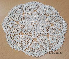 Small decorative napkin Napkin is made of cotton thread crochet Koral no. 15 I used crochet needle no. Crochet Needles, Thread Crochet, Knit Crochet, Crochet Mandala, Mandala Pattern, Crochet Tablecloth, Crochet Doilies, Crochet Chart, Crochet Patterns