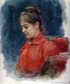 Ilya Repin (1844 — 1930, Russia) Portrait of E.V. Lavrova. 1890  watercolor. 35 x 29.8 cm. Russian Museum  Илья Ефимович Репин