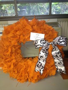 16 Orange Burlap wreath with black and white bow by Spunky82, $65.00