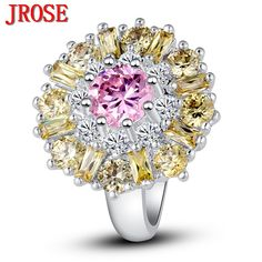 JROSE Wedding Band Classic Flower Jewelry Pink & Golden & White CZ Silver Ring Size 7 8 9 10 11 12 For Women Party Gift