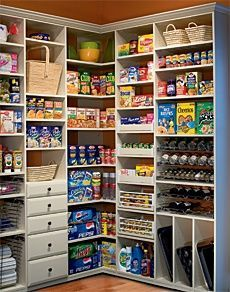 Dream pantry - storage ideas for everything including baking sheets. possible layout for inside the new kitchen pantry. Pantry Storage, Pantry Organization, Organizing Ideas, Kitchen Storage, Pantry Ideas, Organized Pantry, Pantry Shelving, Pantry Diy, Pantry Makeover