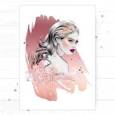 'Venice' (Rose Gold Edition') , by Fashion Illustrator Cristina Alonso.
