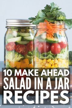 10 Mason Jar Salad Recipes | Meal prepping your lunches just got easier with this collection of healthy, clean eating salad in a jar ideas! Whether you follow the 21 Day Fix, Whole30, Weight Watchers, Low Carb or Keto diet, or just want simple make ahead recipes to keep you on track with your weight loss and meal prep goals, these mason jar lunches will inspire you! #masonjarlunch #saladinajar #masonjarsalad