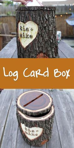 Planning a rustic wedding? This log card box is perfect for collecting notes and cards from your guests. Rustic Card Box Wedding, Wedding Boxes, Wedding Box For Money, Rustic Card Boxes, Wedding Ideas For Fall, Wedding Keepsake Ideas For Guests, Western Wedding Ideas, Lake Wedding Ideas, Wedding Arbor Rustic