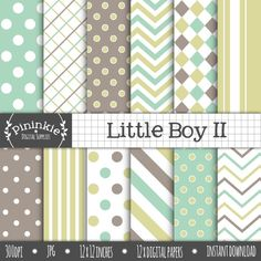 Little Boy II digital scrapbook paper - great for card making, party paper crafts, scrapbooking, photo backgrounds and more!  Your digital paper pack contains 12 assorted digital papers in the format of:  high quality JPGs 300 DPI 12 x 12 inches.