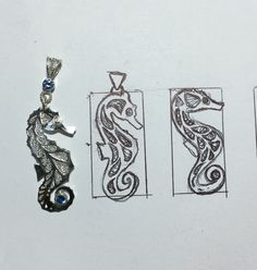 Sterling and fine silver seahorse filigree with blue zircon made by Pcubangbangart