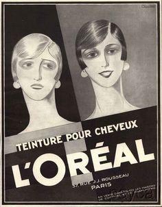 1927 Art Deco Ad Print L'Oreal Hair Paint Teinture pour Cheveux