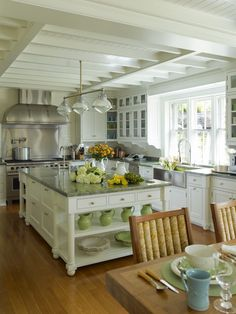 Cullman & Kravis - kitchens - country farmhouse kitchen, stainless steel farmhouse sink,brass cabinet pulls,cafe curtains,glass front cabinets, shaker cabinets
