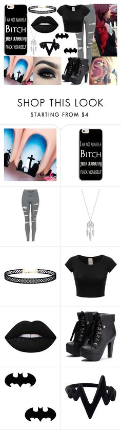 """""""JK"""" by rebel-winchester ❤ liked on Polyvore featuring Topshop, Lucky Brand, LULUS, Too Faced Cosmetics and Lime Crime"""