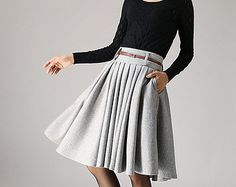 Knee-Length Gray Wool Skirt - Winter Fashion Flared Pleated Midi Work Skirt Made-to- Measure  (1097)