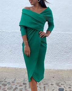 ivrose / Off Shoulder Surplice Wrap Ruched Dress Slit Dress, Ruched Dress, Wrap Dress, Apron Dress, Modelos Fashion, Beautiful Gowns, Elegant Dresses, Casual Dresses, Look Fashion