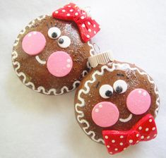 Christmas Tree Ornament Girl and Boy Gingerbread Cookies handmade glass covered polymer clay ornie ( 2 )