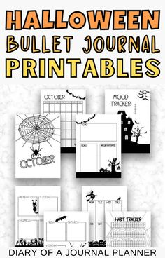 Make getting organized easy in October with these stunning printable halloween-themed bullet journal printables! #halloween #Bulletjournalpages Goal Journal, Bullet Journal Hacks, Bullet Journal Printables, Printable Planner Pages, Templates Printable Free, Planner Sheets, Perfect Planner, Weekly Spread, Bullet Journal Inspiration