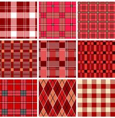 XOO Plate :: 9 Red Checkered Plaid Vector Patterns - 9 Checked red plaid vector patterns.