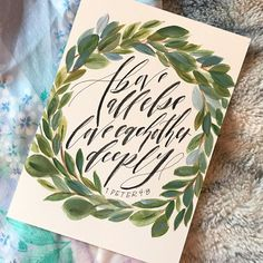 I love how this watercolor bible page turned out! It'll make the perfect gift . by Leigh Studio Wreath Watercolor, Watercolor Paintings, Modern Calligraphy, Confirmation, Greenery, Hand Lettering, Bible Verses, Hand Painted, Future