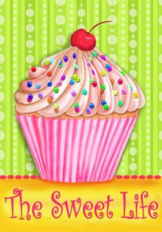 The Sweet Life - Cupcake - Standard Size 28 Inch X 40 Inch Decorative Flag