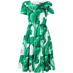 Dolce and Gabbana Palm Print Cotton Dress ($1,695) ❤ liked on Polyvore featuring dresses, all dresses, kirna zabete, skater skirts, palm leaf dress, circle skirt, green dress and cotton dresses