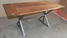 This table has a hand made distressed Douglas fir top combined with a modern iron farmhouse base creating a feature piece in any home or patio.  Bring your interior decorating outside by using this as a new style of patio dining table. Combine this with the matching bench or add a set of unique chairs.  Dimensions: Custom made to order, this design is available in whatever size you require. Top: 1 1/ 2 inch thick Douglas fir – other tops are also available. Base: Steel tube