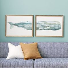 Whale Diptych Art in Silver Wood Frame.