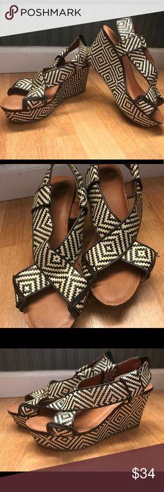 "LUCKY BRAND KOKO Aztec Brown White Wedges Sz 9 Woven - super cute!!!!!! 3.5"" heel Lucky Brand Shoes Wedges"