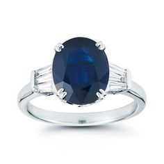 Oval Blue Sapphire & Diamond Ring 18kt White Gold