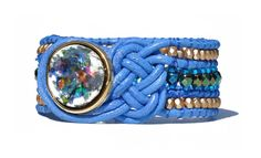 Celtic Blau Lederarmband mit Perlen Manschette Boho Wickelarmband Vintage von BerlinBijou auf Etsy