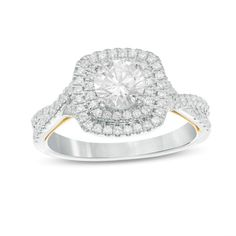 1-1/6 CT. T.W. Diamond Cushion Frame Twist Engagement Ring in 14K Two-Tone Gold - Save on Select Styles - Zales