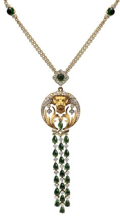 Necklace Floating Gardens CO 1646.1     Yellow Gold 18KT, Diamonds and Green Tourmalines #Magerit #BabylonCollection #jewels