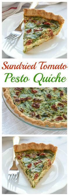 A brightly flavored pesto quiche with sundried tomatoes, Parmesan, and spinach. This healthy quiche is big on flavor but light on calories!