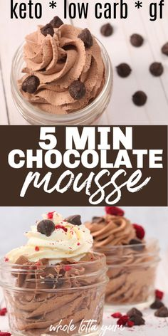 4 ingredient keto chocolate mousse makes a quick and easy 5 minute low carb gluten free and keto dessert recipe that's no bake. 4 ingredient keto chocolate mousse makes a quick and easy 5 minute low carb gluten free and keto dessert recipe that's no bake. Dessert Dips, Dessert Aux Fruits, Dessert Recipes, Keto Recipes, Healthy Low Carb Recipes, Easy Mousse Recipes, Keto Desert Recipes, Dinner Recipes, Mousse Dessert