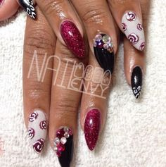 Designs for Long or Stiletto Nails, Long Nails, Oval Nails, Stiletto Nails, Mismatched Manicure, Nail Art, Floral Nails, Nail Trends, NAILPRO Magazine