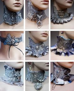 Lace Steampunk collars with cameos and metal embellishments Pi. Lace Steampunk collars with cameos and metal embellishments Pinkabsinthe Steampunk Accessoires, Mode Steampunk, Style Steampunk, Victorian Steampunk, Steampunk Clothing, Steampunk Fashion, Steampunk Cosplay, Estilo Lolita, Mode Inspiration