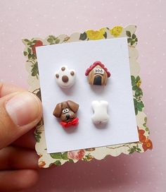 Cute set of 4 earrings for dog lovers. The earrings are made of polymer clay without using molds. The lenght of each earring is 1.2 cm. The metallic parts have no nickel. ❀ Because i make everything by hand, the item you receive may differ slightly than shown on the pictures. ❀ Price is for
