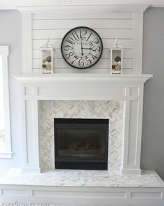 Idea for white shiplap (or very pale grey) above dining room fireplace