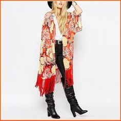 Avante Garde Red Tassel Hem Loose Sleeved Color Floral Chiffon Kimono Cardigan Color: Red Yellow Blue Floral Garment Sizes: S, bust width / M, bust width / L, bust width Reg Retail Allow 3 - 5 . Kimono Cardigan, Kimono Top, Floral Chiffon, Vests, Tassels, Wraps, Bohemian, Wool, Yellow
